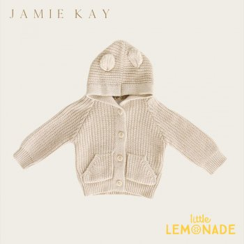 【Jamie Kay】  BEAR CARDIGAN - OATMEAL MARLE【6-12か月/1歳/2歳/3歳】ブラウン  ベアカーディガン セーター トップス 耳付 ジェイミーケイ