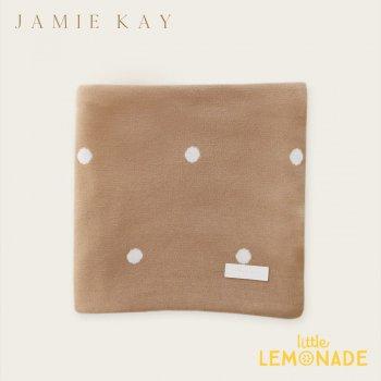 【Jamie Kay】 POLKA DOT BLANKET - LATTE ラテ ドット ブランケット おくるみ ベビー用 お祝い ギフト 女の子 男の子 ジェイミーケイ
