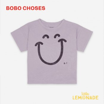 <img class='new_mark_img1' src='https://img.shop-pro.jp/img/new/icons1.gif' style='border:none;display:inline;margin:0px;padding:0px;width:auto;' />【BOBO CHOSES】  Big Smile Lilas Short Sleeve T-Shirt【4-5Y/6-7Y/8-9Y】 121AC156 Tシャツ ボボショーズ 21SS YKZ
