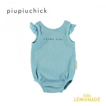【piupiuchick】 ribbed body【12か月/18か月】ブルー ロンパース  ベビー服 アパレル ピウピウシック 21SS (SS21.FLP2107) YKZ