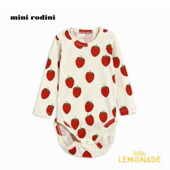 【Mini Rodini】ストロベリー デザイン ロンパース 【4-9か月/9か月-1.5歳】子供服 ベビー服 ロンパース (21240131) ミニロディーニ  21SS YKZ
