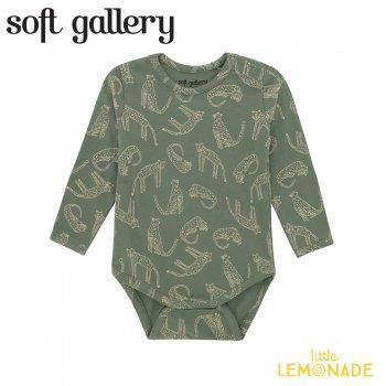 【Soft gallery】 Galileo Body【12か月/18か月】グリーン ロンパース ヒョウ柄 長袖 (893-547-904) 21SS ソフトギャラリー YKZ