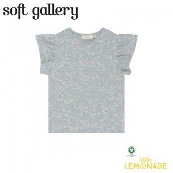 【Soft gallery】 Hilde T-shirt【4歳/6歳/8歳】ブルー フリル 小花柄 子供 (666-559-877) 21SS ソフトギャラリー YKZ
