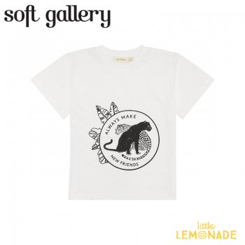 【Soft gallery】Asger T-shirt/Snow White ブラック タイガー 【4歳/6歳/8歳】 半袖 Tシャツ  (452-410-821) 21SS ソフトギャラリー YKZ