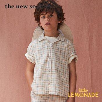 【The New Society】 DYLAN SHIRT 襟付き半袖シャツ チェック柄 【6歳/8歳/10歳】 シャツ 半袖 トップス 子供服 襟付きシャツ 21SS YKZ