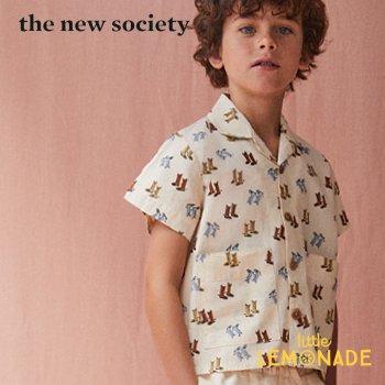 【The New Society】 ELEONORA SHIRT DALLAS 襟付き半袖シャツ カウボーイブーツ柄 【6歳/8歳/10歳】 半袖 子供服 (SS21K210201) YKZ