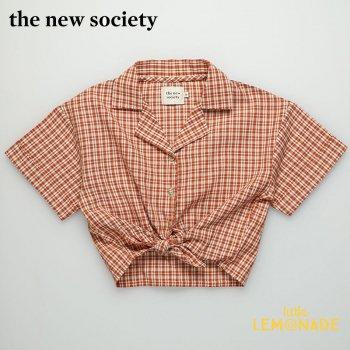 【The New Society】ARLETTE SHIRT 襟付き半袖シャツ 赤チェック柄【6歳/8歳/10歳】 子供服 襟付きシャツ 21SS (SS21K210301) YKZ