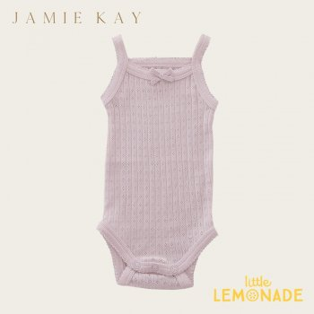 【Jamie Kay】 POINTELLE SINGLET BODYSUIT - OLD ROSE  【0-3か月】 ベビー肌着 キャミソール 21SS SALE