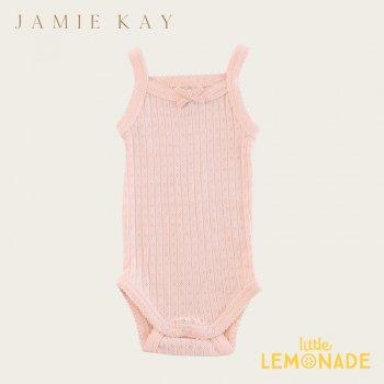 【Jamie Kay】 POINTELLE SINGLET BODYSUIT - PEACH  【0-3か月】ベビー肌着  インナー キャミソール 21SS SALE