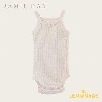 【Jamie Kay】 POINTELLE SINGLET BODYSUIT - IVORY 【0-3か月/3-6か月/6-12か月/1歳】 ベビー肌着  インナー キャミソール 21SS SALE