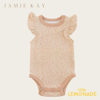 <img class='new_mark_img1' src='https://img.shop-pro.jp/img/new/icons1.gif' style='border:none;display:inline;margin:0px;padding:0px;width:auto;' />【Jamie Kay】 FRILL SINGLET BODYSUIT - MEADOW FLORAL  【6-12か月/1歳】 袖フリル ベビーボディ ノースリーブ ロンパース