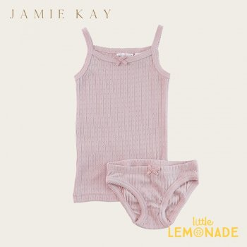 【Jamie Kay】 POINTELLE UNDERWEAR SET - OLD ROSE 【2歳/3歳/4歳】 肌着  キャミソール&パンツセット インナー