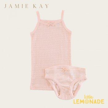【Jamie Kay】 POINTELLE UNDERWEAR SET - PEACH 【2歳/3歳/4歳】 肌着  キャミソール&パンツセット インナー