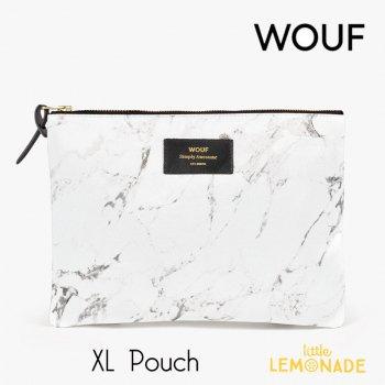 【WOUF】  XLサイズ ポーチ 【White Marble】 マチなし ホワイトマーブル 小物入れ 小物ポーチ  (MXL160004)