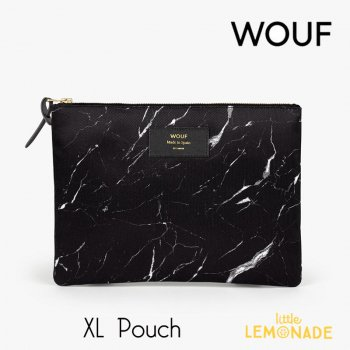 【WOUF】  XLサイズ ポーチ 【Black Marble】 マチなし ブラックマーブル 小物入れ 小物ポーチ  (MXL160003)