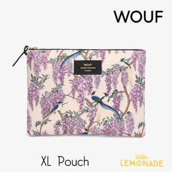 【WOUF】  XLサイズ ポーチ 【Glycine】 マチなし パープル 紫 花 藤 小物入れ 小物ポーチ  (MXL200011)