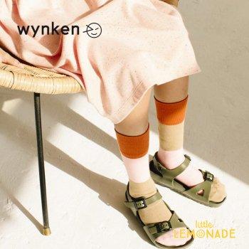 【wynken】 BLOCK KNEE HIGH SOCK / BURNT ORANGE MIX 【 2歳 / 4歳 / 6歳 】 WK10A110 ソックス ウィンケン 21SS YKZ SALE