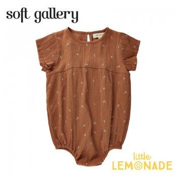 【Soft gallery】 Helia Jumpsuit【12か月/24か月/3歳】ブラウン 茶色 半袖 (313-577-913) 21SS ソフトギャラリー YKZ
