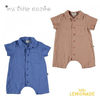 【MY LITTLE COZMO】LINEN ROMPER  ROYAL BLUE/TERRA COTTA【12か月/18か月/24か月】リネン ロンパース  YKZ 21SS(COLTON82)