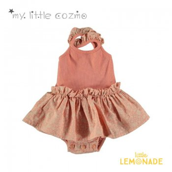 【MY LITTLE COZMO】ORGANIC FLORAL ROMPER /PEACH フリルロンパース 【12か月/24か月】YKZ 21SS(ALICE127)