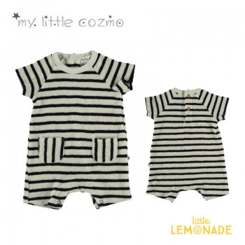 【MY LITTLE COZMO】ORGANIC TOWELING BODY NATURAL×DARK オーガニックボーダーボディ【12か月/24か月】YKZ 21SS(WREN118)