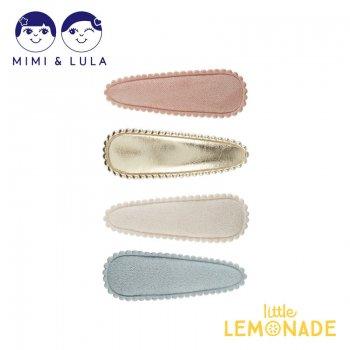 【Mimi&Lula ミミアンドルーラ】 PASTEL BLUSH SPARKLE CLIC CLACS/ソフトスエードヘアクリップ4個セット ぱっちんどめ 女の子 21SS(70200147)