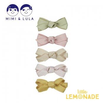 【Mimi&Lula ミミアンドルーラ】 MINI FLORENCE BOW CLIPS / キュッと結んだデザイン リボンヘアクリップ5個セット 女の子 21SS(70201170)