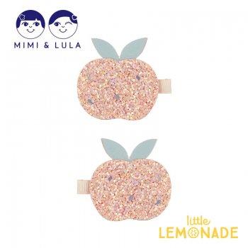 【Mimi&Lula】 GLITTER PEACH CLIPS/グリッターピーチクリップ 2個セット フルーツ 桃 女の子 21SS(70202869)