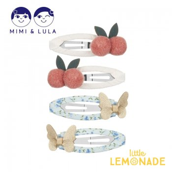 【Mimi&Lula】CHERRIES AND BUTTERFLIES CLIC CLACS/チェリー&バタフライヘアクリップ4個セット フルーツ 蝶 女の子 21SS(70203571)