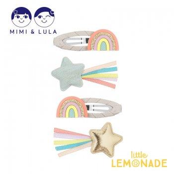 【Mimi&Lula】 OVER THE RAINBOW CLIP PACK/オーバーザレインボーヘアクリップ4個セット  虹 星 女の子 21SS(70206073)