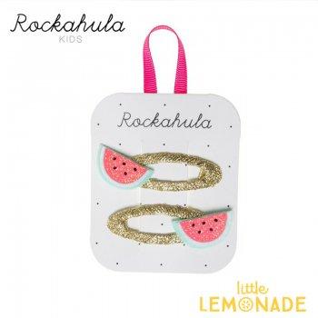 【Rockahula Kids】Little Watermelon Glitter Clips-Gold/スイカのヘアクリップ 2個セット ぱっちんどめ ヘアアクセサリー  (H1335G)