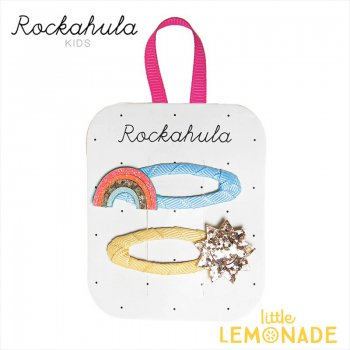 【Rockahula Kids】Rainbow Bright Clips-Multi/レインボーと太陽のヘアクリップ 2個セット ぱっちんどめ ヘアアクセサリー  (H1511M)