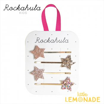 【Rockahula Kids】 Sparkle Star Slides-Gold/スパークルスター ゴールドヘアピン 4個セット ヘアアクセサリー  (H1554G)
