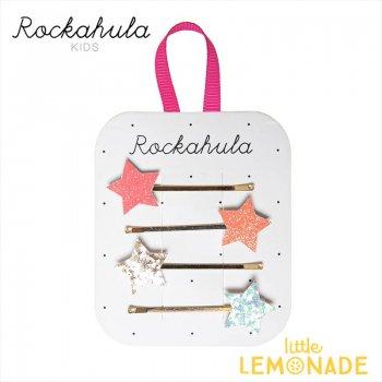 【Rockahula Kids】 Sparkle Star Slides-Multi/スパークルスター マルチカラーヘアピン 4個セット ヘアアクセサリー  (H1554M)