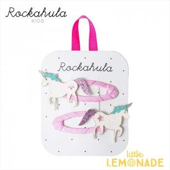 【Rockahula Kids】 Unicorn Glitter Clips-White/ユニコーングリッターヘアピン 2個セット ヘアアクセサリー  (H734W)