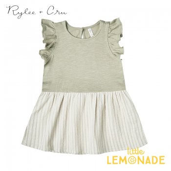 【Rylee+Cru】 striped coury dress 【12-18か月/18-24か月/2-3歳/4-5歳】 RC325SE グリーン ワンピース ライリーアンドクルー 2021SS ykz