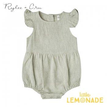 【Rylee+Cru】 amelia romper 【6-12か月/12-18か月/18-24か月/2-3歳】 RC226SE グリーン ロンパース ライリーアンドクルー 2021SS ykz
