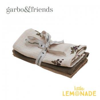 【garbo&friends】ハンカチ/Blackberry Burp Cloths3 pcs3色セット ブラックベリー よだれ拭き コットン GF214P3731GL