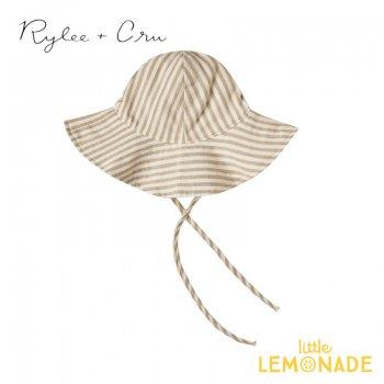 【Rylee+Cru】striped floppy hat ALMOND 【6-12か月/1-3歳】 RCR244AD 帽子 ハット 茶色 ストライプ ライリーアンドクルー 2021SS ykz