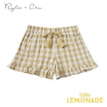 【Rylee+Cru】 gingham ruffle short BUTTER 【2-3歳/4-5歳/6-7歳/8-9歳】 RCR317BU  ハーフパンツ ライリーアンドクルー 2021SS ykz