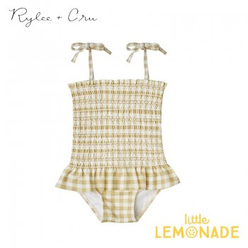 【Rylee+Cru】  gingham smocked onepiece swimsuit 【12-18か月/18-24か月】 水着 RCR310BU ライリーアンドクルー 2021SS ykz