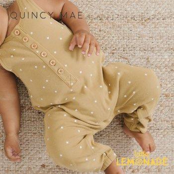 【Quincy Mae】 SLEEVELESS JUMPSUIT GOLD STAR【12-18か月/18-24か月/2-3歳】 QM158LD  星柄 ノースリーブ  YKZ 21SS SALE
