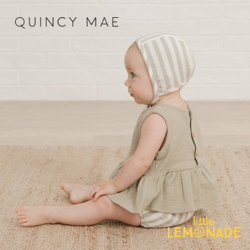 <img class='new_mark_img1' src='https://img.shop-pro.jp/img/new/icons1.gif' style='border:none;display:inline;margin:0px;padding:0px;width:auto;' />【Quincy Mae】SLEEVELESS PEPLUM SET SAGE-STRIPE  【6-12か月/12-18か月/18-24か月/2-3歳】 QM081ER SS21 ストライプ  YKZ