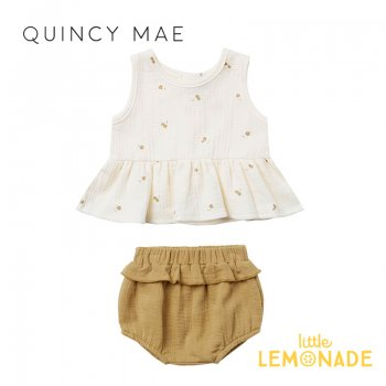 <img class='new_mark_img1' src='https://img.shop-pro.jp/img/new/icons1.gif' style='border:none;display:inline;margin:0px;padding:0px;width:auto;' />【Quincy Mae】SLEEVELESS PEPLUM SET IVORY-GOLD TYNY FLOWER  【12-18か月/18-24か月/2-3歳】 QM081VY SS21  YKZ