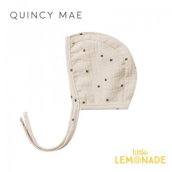 <img class='new_mark_img1' src='https://img.shop-pro.jp/img/new/icons1.gif' style='border:none;display:inline;margin:0px;padding:0px;width:auto;' />【Quincy Mae】WOVEN BABY BONNET NATURAL STAR【6-12か月/12-24か月】 QM077UR SS21 星柄 ボンネット 帽子  YKZ