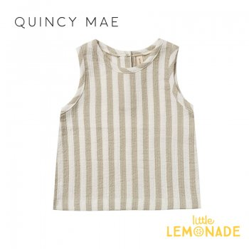 <img class='new_mark_img1' src='https://img.shop-pro.jp/img/new/icons1.gif' style='border:none;display:inline;margin:0px;padding:0px;width:auto;' />【Quincy Mae】 WOVEN TANK SAGE-STRIPE 【6-12か月/12-18か月/18-24か月/2-3歳】 QM043SE SS21 ストライプ  YKZ