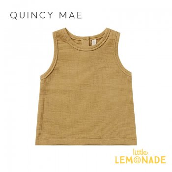 <img class='new_mark_img1' src='https://img.shop-pro.jp/img/new/icons1.gif' style='border:none;display:inline;margin:0px;padding:0px;width:auto;' />【Quincy Mae】 WOVEN TANK GOLD 【6-12か月/12-18か月/18-24か月/2-3歳】 QM043LD SS21 ゴールド  YKZ