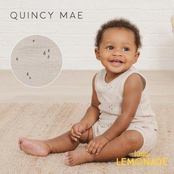 【Quincy Mae】 WOVEN TANK ASH GEO 【6-12か月/12-18か月/18-24か月/2-3歳】 QM043AH  タンクトップ  YKZ 21SS SALE