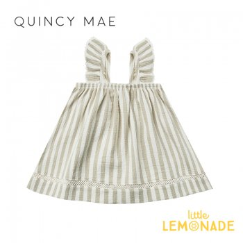 <img class='new_mark_img1' src='https://img.shop-pro.jp/img/new/icons1.gif' style='border:none;display:inline;margin:0px;padding:0px;width:auto;' />【Quincy Mae】 WOVEN RUFFLE TUBE DRESS SAGE-STRIPE 【6-12か月/12-18か月/18-24か月/2-3歳】 QM044ER SS21 YKZ