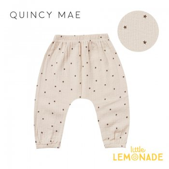<img class='new_mark_img1' src='https://img.shop-pro.jp/img/new/icons1.gif' style='border:none;display:inline;margin:0px;padding:0px;width:auto;' />【Quincy Mae】 WOVEN HAREM PANT NATURAL STAR 【12-18か月/18-24か月/2-3歳】 QM042UR SS21 星柄 YKZ
